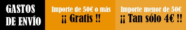Gastos de envío: 50€ o más Gratuito / menos de 50€ sólo 4€ de envío